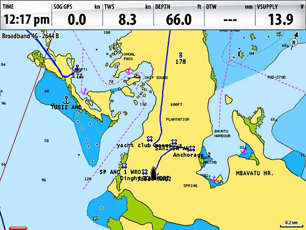 Fiji guide things to know two at sea a screenshot from our chartplotter navionics charts show us anchored in 66 of gumiabroncs